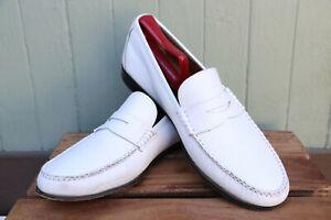 Salvatore Ferragamo White Leather Penny Loafer Slip On Dress Shoe Men's SZ 10D
