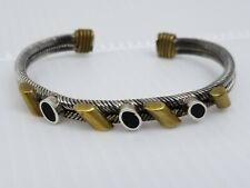 Twisted Wire Cable Cuff Bracelet Taxco Mexico Sterling Silver Brass Onyx