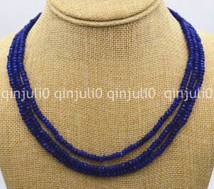 """Natural 3 Rows 2X4mm Faceted dark blue sapphire gemstone beads necklace 17-19"""""""