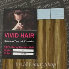 "10pcs 22"" Remy Seamless Tape Skin Weft Human Hair Extensions Light Brown Blonde"