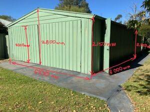 Galvanized Garage / Storage Shed / Length 8000mm x Width 6000mm x Height 2800mm