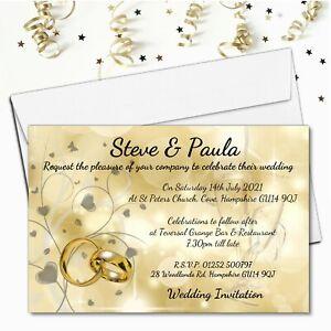 10 Personalised Gold Wedding Invitations / Evening Invites & Envelopes N67