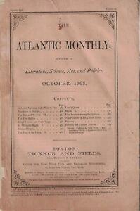 1868 Atlantic Monthly October - John G. Whittier; A visit to an alcoholic Asylum
