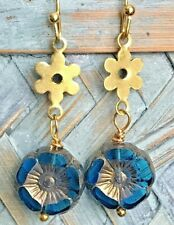 Picasso Czech Glass Flowers. Bloom Gold Earrings with Midnight Blue