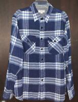 Wallace & Barnes J. Crew Flannel Shirt Veranda Blue Plaid K2519 Size L