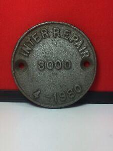 Vintage Sign Cast Aluminium Railway Repair Plaque 1980 Mancave Bar Collectable