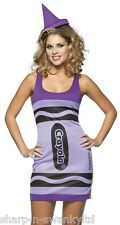 Ladies Sexy Wisteria Purple Crayola Crayon Hen Do Fancy Dress Costume Outfit