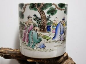 Large Chinese  Famille  Rose  Porcelain  Pen Holder Brush Washer