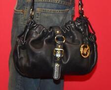 MICHAEL KORS Black Leather Small Tote Shoulder Gathered Crossbody Hobo Purse Bag