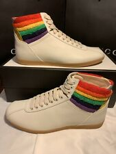 NEW Gucci Lace Up High Top Snekaers Rainbow Detail Mens US Size 11