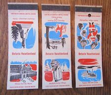 1960-61 ONTARIO VACATIONLAND COMPLETE SET OF 3 MATCHBOOK MATCHCOVERS -MY22