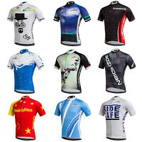Men's Cycling Biking Jersey Full Zip Short Sleeve Bike Bicycle Cycle Shirt S-5XL