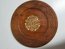 Wooden Plate Collectible Handmade Carved with Inlay