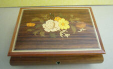 Vintage Reuge Italy Swiss Movement Wooden Lacquered Music Jewelry Box Hp Flowers