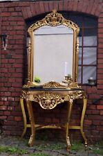 console avec miroir table d'appoint doré à la feuille d'or plateau de marbre