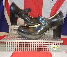 Marlena*Black Rub Off Leather Dr Doc Marten Mary Jane Heels*Pin Up*Rockabilly*5