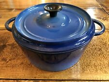Rare Vintage Staub Blue 4-qt Cast Iron Round Cocotte #24 Made In France