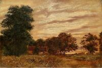 19TH CENTURY ANTIQUE PLEIN AIR RURAL LANDSCAPE WITH BUILDINGS OIL PAINTING