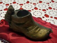 VINTAGE ♡ MINATURE KITTEN CAT & MOUSE ON GOLD BOOT SHOE MADE IN JAPAN MATCH SAFE