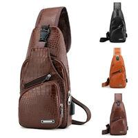 New Men PU Leather Sling Chest Pack Crossbody Sport Shoulder Bag USB Charging US