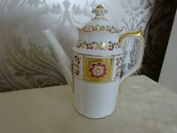 Royal Crown Derby China Red Panel Coffee Pot 21cm tall