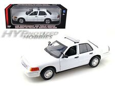 MOTORMAX 1:18 2001 FORD CROWN VICTORIA LAW ENFORCEMENT DIE-CAST WHITE  73517