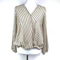 Mahina Women's Striped Crossover Long Sleeve Top Beige Size Medium