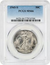 1945-S 50c PCGS MS66 - Pretty Gem - Walking Liberty Half Dollar - Pretty Gem