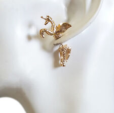 WOMENS Cool Punky Lovely Light-Gold-Color Horse with Wings Pierced Stud Earrings