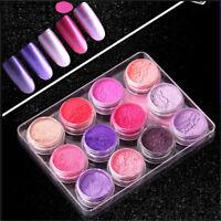12Colors/Set Mocha Gradient Nail Glitter Pigment Shimmer Shell Nail Powder Dust
