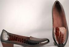 Women's Clarks Everyday Brown/Black Faux Alligator Patent Leather Loafers US 9 N