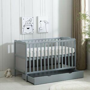 Grey Wooden Baby Cot Bed & Drawer & Aloe Vera Mattress (Orlando Drawer)
