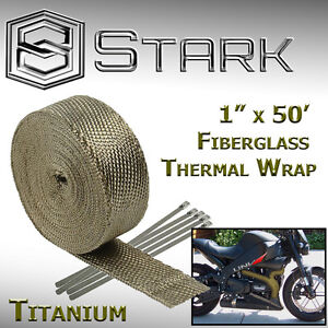 "1"" x 50' Ft Motorcycle Header Exhaust Heat Wrap Fiberglass Manifold Titanium (B)"