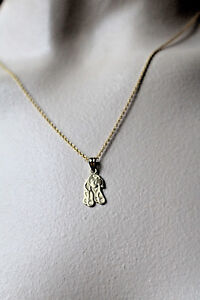 "10K YELLOW GOLD ""I LOVE MY DOG"" PUPPY PENDANT NECKLACE 20"" , 2.3 GRAMS"
