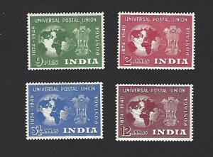 INDIA 1949 75th ANNIVERSARY OF UPU SET OF 4 STAMPS. SG. 325 - 328, CAT £29+, MH