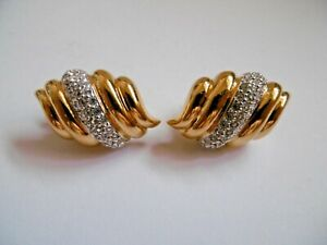 LOVELY PAIR OF SWAROVSKI CRYSTAL SIMULATED DIAMOND GOLD TONE CLIP EARRINGS