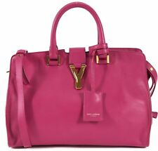 SAINT LAURENT Authentic Pink Cabas Chyc Calf Leather Satchel Tote Shoulder Bag