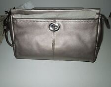NWT Coach Park Large Pebbled Leather Silver/Pewter Clutch/Wristlet F49481