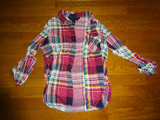 Woman's Polly Esther Red Plaid Shirt Sz. S
