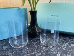 Pair Of Tiffany & Co Riedel Water Wine Stemless Glasses Tumblers NEW IN BOX🎀BOW