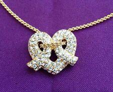 "KJL Kenneth Jay Lane Swarovski Crystal Pretzel Heart 20"" Chain Necklace"