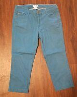 Women's Caribbean Joe Capri Denim Jeans ~ Dark Teal ~ Sz 8 ~ Cotton/Spandex