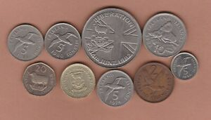 NINE FALKLAND ISLANDS COINS 1974 TO 1998 IN NEAR MINT CONDITION.