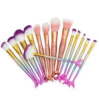 10pcs Pro Mermaid Makeup Brushes Set Blush Eyeshadow Lip Cosmetic Brush Kit Tool