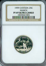 1999 CANADA SILVER MARCH  25 CENTS NGC PR69 ULTRA HEAVY CAMEO SPOTLESS .
