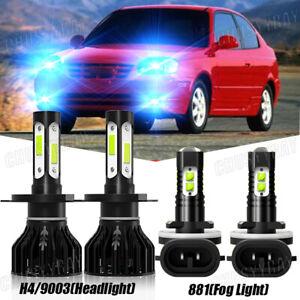 For Hyundai Accent 2000-2017 4x H4 9003 881 LED Headlight Fog Light Combo Bulbs