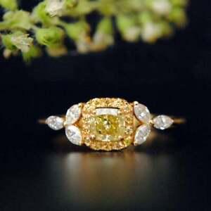 0.40 Ct Fancy Yellow Diamond Ring. Cushion Cut Engagement Ring 9kt Yellow Gold