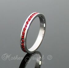 RUBY RED CZ LADIES WEDDING ETERNITY STACKABLE STERLING SILVER PLATED BAND RING