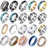 Mens Rings Stainless Steel Brushed Titanium Onyx Signet Wedding Band Couple Ring