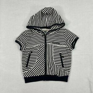 VOLCOM Full Zip Up Stripped Short Sleeve Hooded Sweatshirt Sz Woman Medium